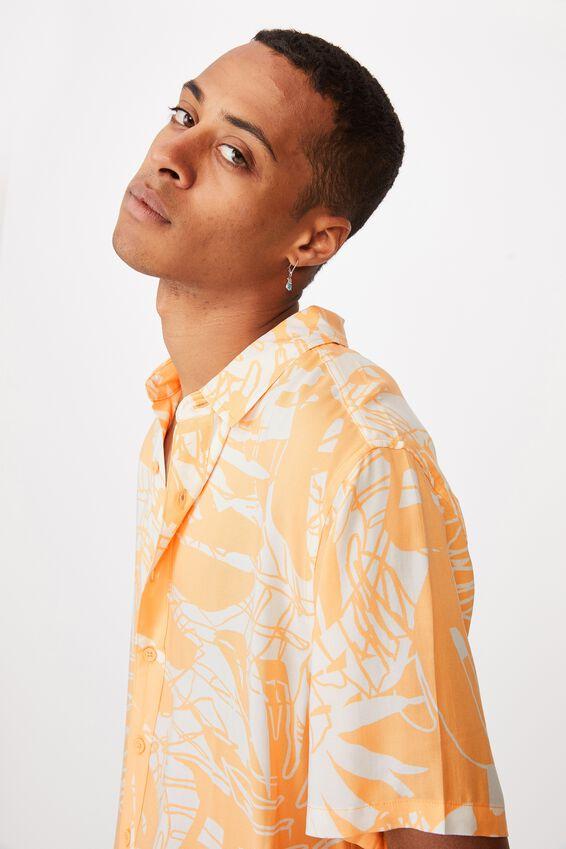 Short Sleeve Resort Shirt, APRICOT SPLICED FLORAL