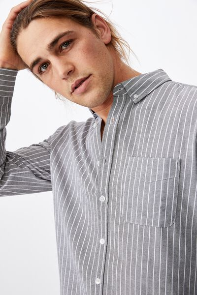 Brunswick Shirt 3, CHARCOAL WHITE STRIPE