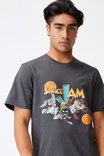 Tbar Collab Movie And Tv T-Shirt, LCN WB FADED SLATE/SPACE JAM - GAME ON