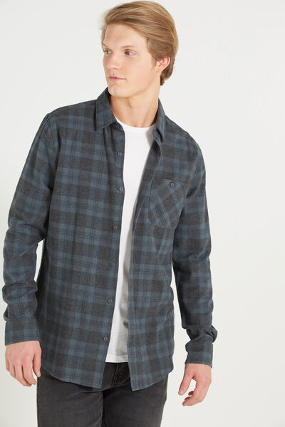 Rugged Long Sleeve Shirt, STEEL BLUE CHECK