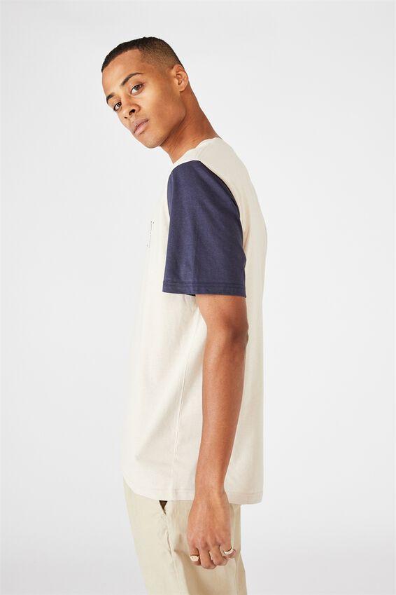 Tbar Street T-Shirt, PEARL/ROSEWOOD/TRUE NAVY/NY LA SLEEVES