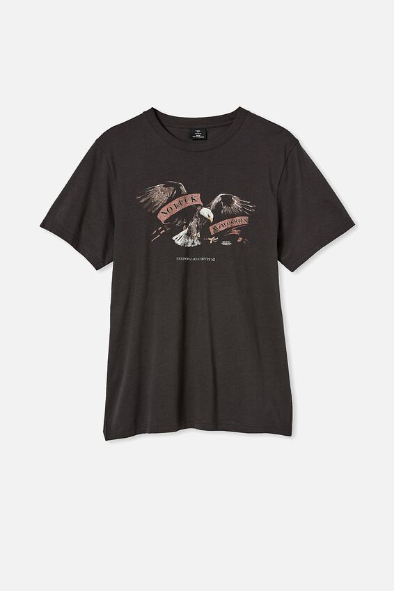 Tbar Moto T-Shirt, WASHED BLACK/EAGLE SCROLL