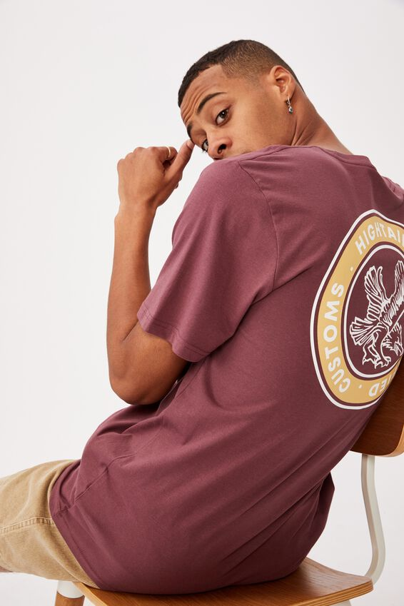 Tbar Moto T-Shirt, AGED WINE/HIGHTAIL EAGLE