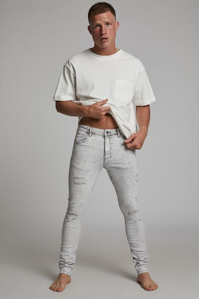 Super Skinny Jean, CHALK GREY + RIPS