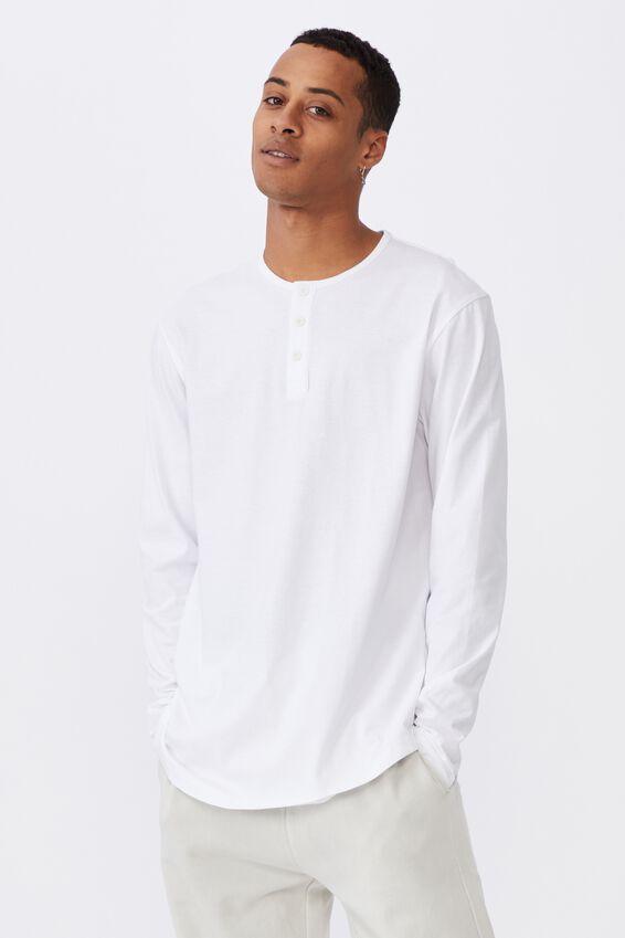Longline Scoop Henley Long Sleeve T-Shirt, WHITE
