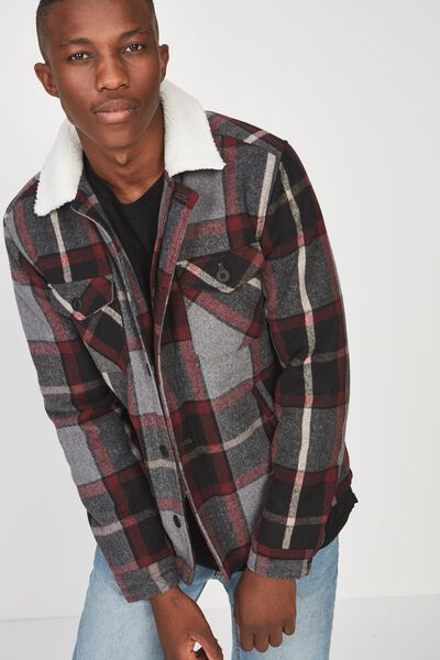 Sherpa Trucker Jacket, CHARCOAL RED CHECK