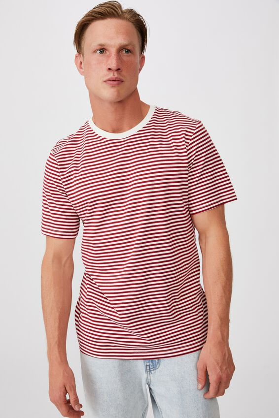 Tbar Premium T-Shirt, CHILLI PEPPER/VINTAGE WHITE 50/50 STRIPE