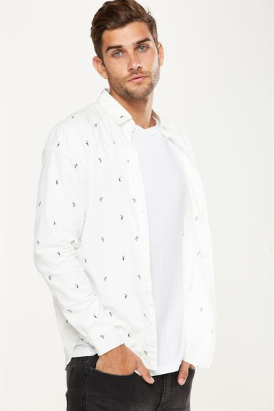 Brunswick Shirt 3, WHITE TOUCAN PRINT