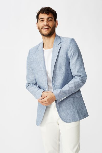 Linen Blazer, DENIM BLUE