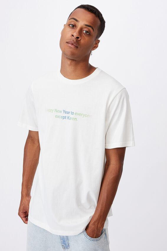 Tbar Text T-Shirt, VINTAGE WHITE/HAPPY NEW YEAR KAREN