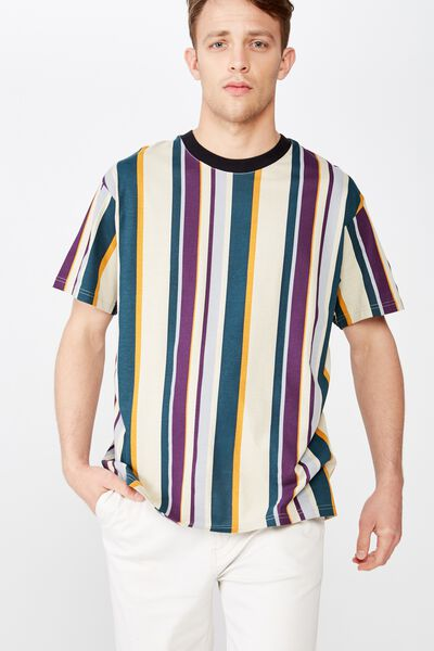 Downtown Loose Fit Tee, PALE SAND/DARK TEAL/PLUM PURPLE/BUCKSKIN GOLD/OVER