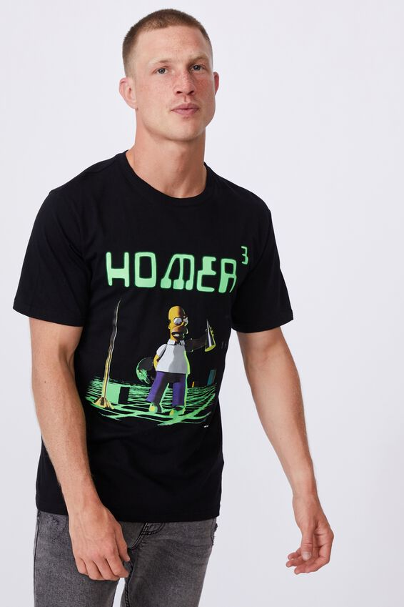 Tbar Collab Movie And Tv T-Shirt, LCN DIS BLACK/SIMPSONS-HOMER 3D