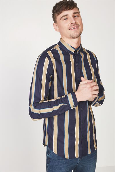 91 Shirt, NAVY TAN STRIPE