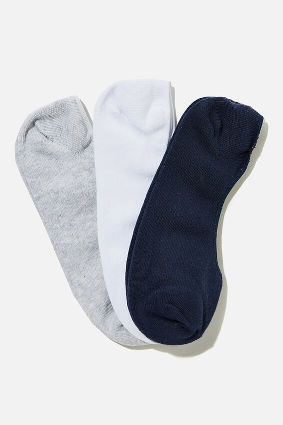 Invisible Socks 3 Pack, NAVY/GREY MARLE/WHITE