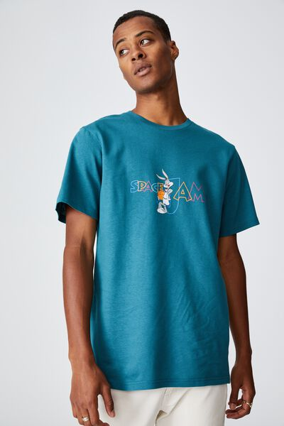 Tbar Collab Movie And Tv T-Shirt, LCN WB DARK TEAL/SPACE JAM - MULTI LOGO