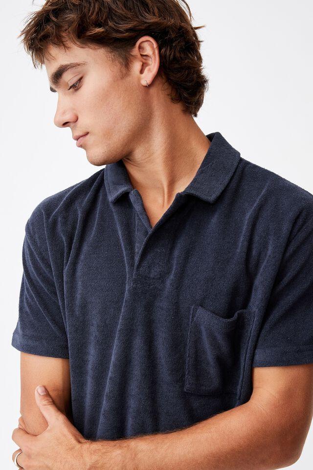 Textured Polo, TRUE NAVY