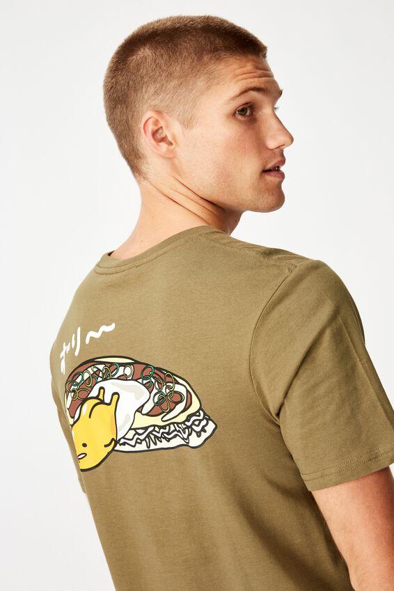 Tbar Collab Character T-Shirt, LCN SAN JUNGLE KHAKI/GUDETAMA - OKONOMIYAKI
