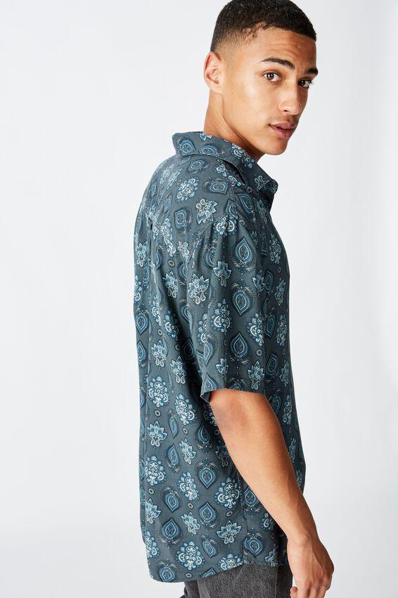 91 Short Sleeve Shirt, BLUE PAISLEY