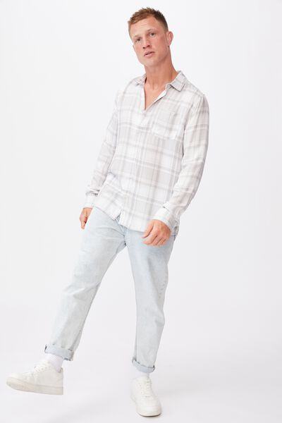 Premium Check Shirt, WHITE GREY CHECK