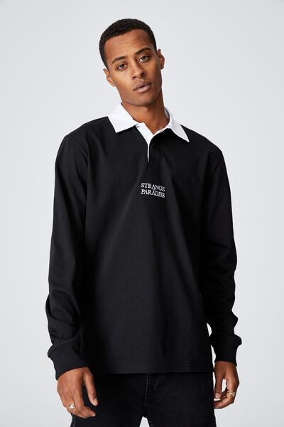 Rugby Long Sleeve Polo, BLACK/STRANGER PARADISE