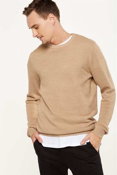 Lightweight Crew Sweater, TAN MARLE