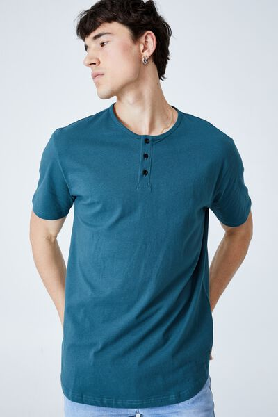 Longline Scoop Henley T-Shirt, DARK TEAL