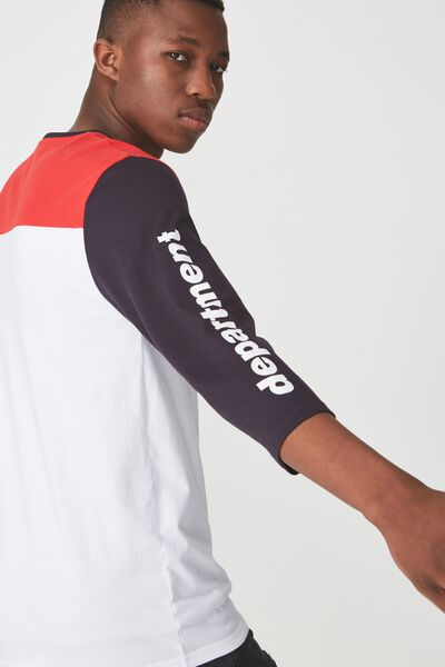 Tbar 3/4 Baseball Tee, WHITE/INK NAVY/RED/DEPARTMENT