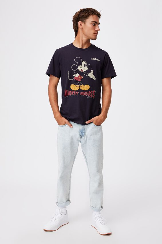 Tbar Collab Character T-Shirt, LCN DIS INK NAVY/MICKEY MOUSE-VINTAGE CALI