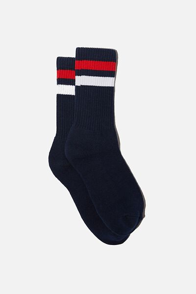 Essential Active Sock, NAVY/RED/WHITE SPORT STRIPE