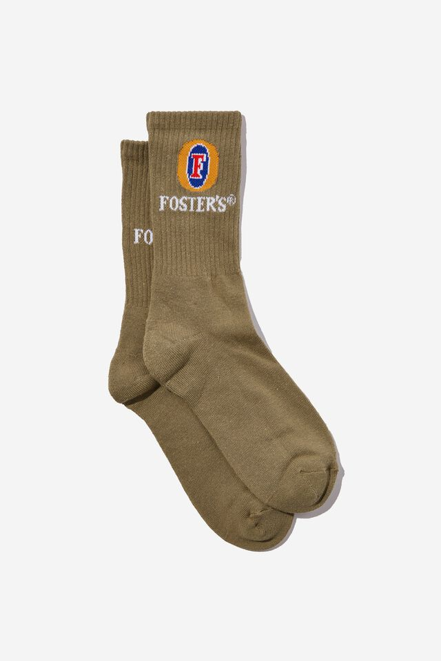 Fosters Active Sock, LCN FOS JUNGLE KHAKI/FOSTERS LOGO