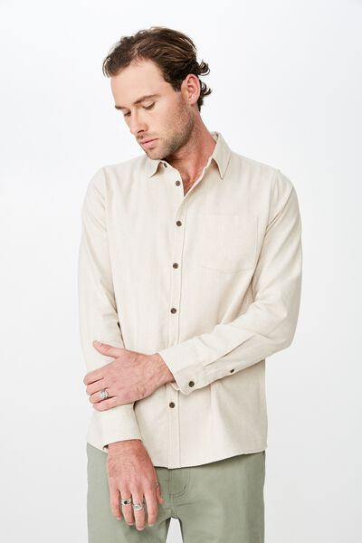 f6ddb8d162b0 Rugged Long Sleeve Shirt, NATURAL HERRINGBONE. Cotton On Men. Rugged Long  Sleeve Shirt