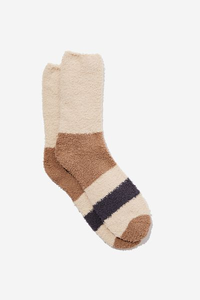 Fluffy Bed Sock, BROWN/STONE/CHARCOAL