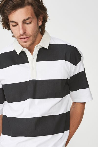 Oversized Short Sleeve Polo, BLACK WHITE BOLD STRIPE