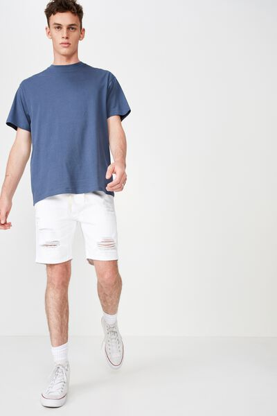 Customised Denim Short, RIGID WHITE DESTROYED