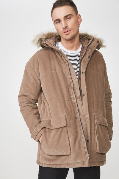 Corduroy Parka, BROWN