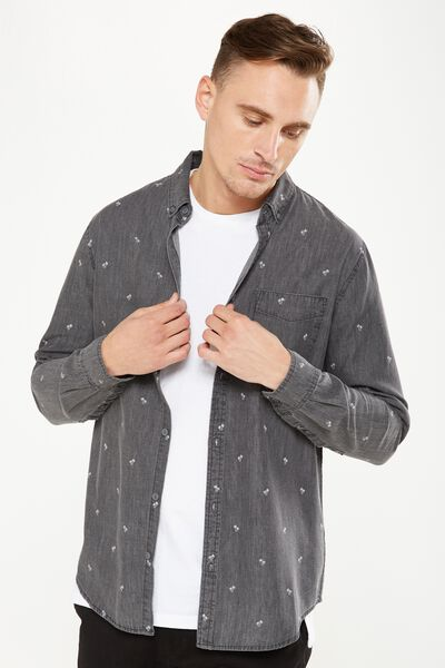 Brunswick Shirt 3, GREY CHAMBRAY DITSY PRINT