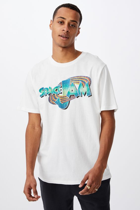 Tbar Collab Movie And Tv T-Shirt, LCN WB VINTAGE WHITE/SPACE JAM-NEON LOGO