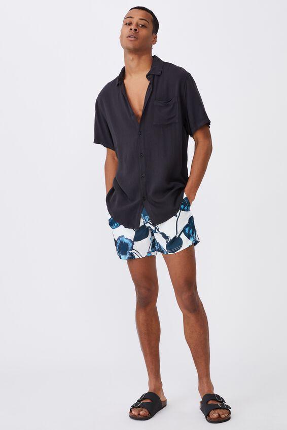 Swim Short, WHITE BLUE HIBISCUS