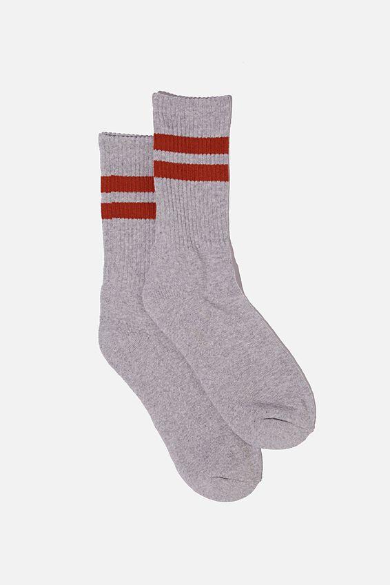 Essential Active Sock, GREY MARLE/BURNT RED SPORT STRIPE