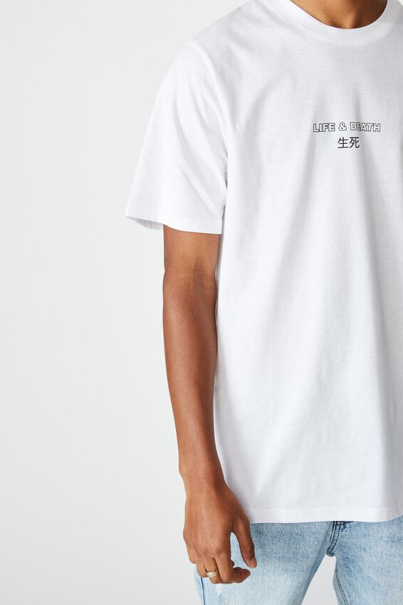 Tbar Text T-Shirt, WHITE/LIFE & DEATH