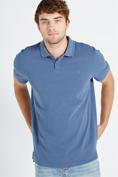 Short Sleeve Pigment Dyed Polo, MID BLUE