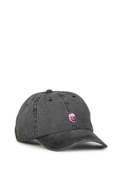 Strap Back Dad Hat, LAUGHING SKULL/BLACK PIGMENT DYE