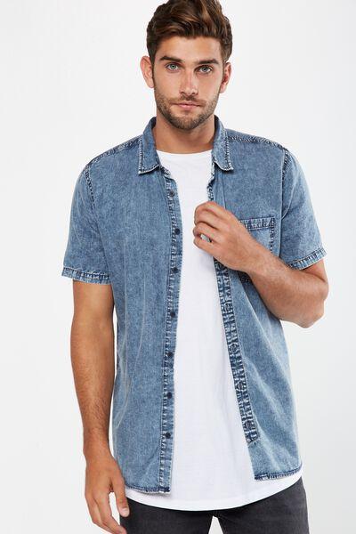 91 Short Sleeve Shirt, MID BLUE ACID DENIM