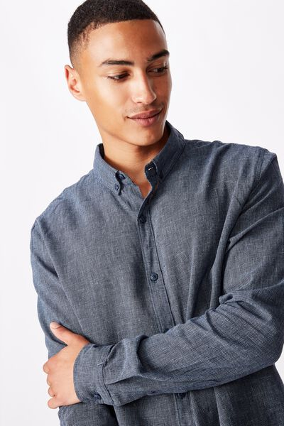 Textured Long Sleeve Shirt, INDIGO BLUE