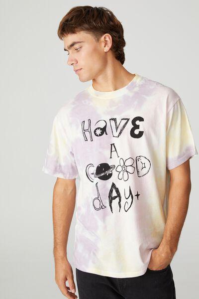Bondi T-Shirt, PINK/YELLOW TIE DYE/HAVE A GOOD DAY