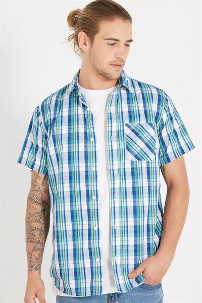 Vintage Prep Short Sleeve Shirt, SKY/LIME HIGHLIGHT TABLE CHECK