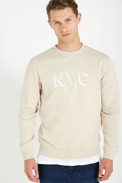 Crew Fleece 2, IVORY/NYC KNOCKOUT