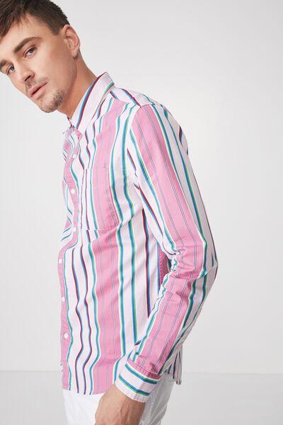 Troubadour Shirt, PINK RED STRIPE