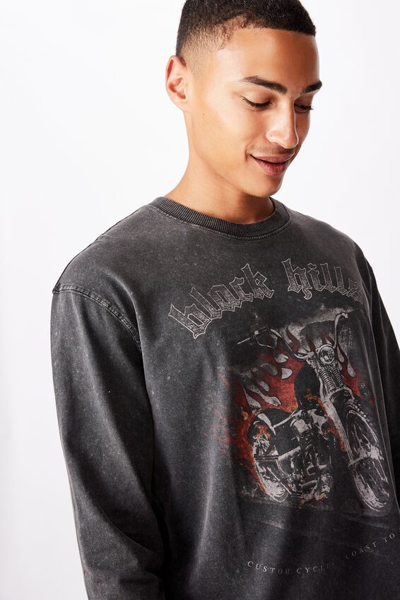 Bondi Long Sleeve, WASHED BLACK/BLACK HILLS FLAMES