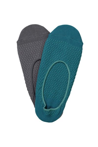 Invis Socks 2 Pack, CHARCOAL/TEAL WAFFLE